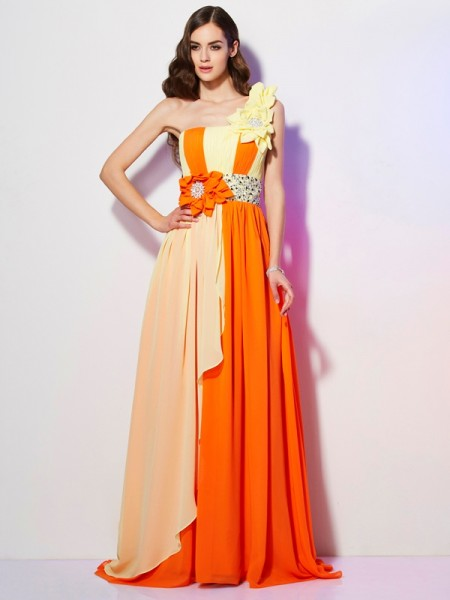 A Line One Shoulder Sweep Brush Train Chiffon Beading Evening Wear