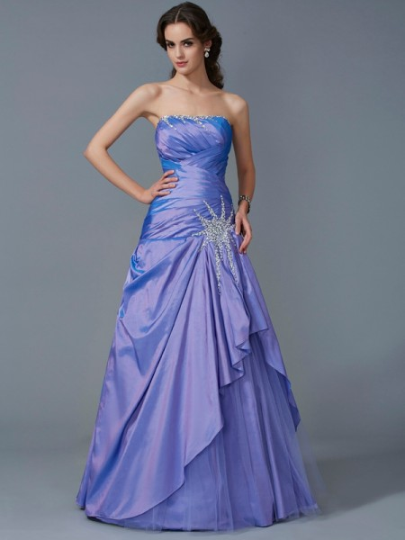 Mermaid Strapless Beading Taffeta Floor Length Evening Wear