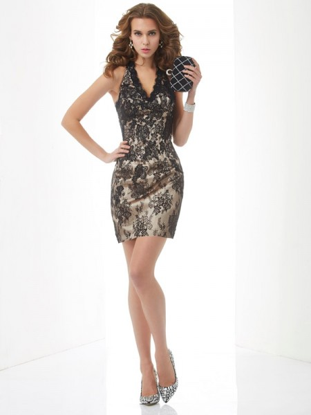 Column Halter lace Mini Gown