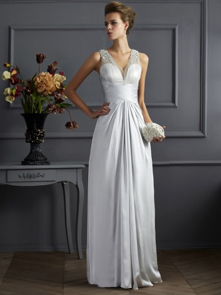 A Line Straps Beading silk like Satin Floor Length Evening Wear