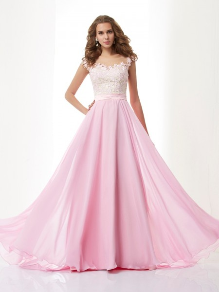 A Line Scoop Applique Beading Chiffon Sweep Brush Train Evening Wear