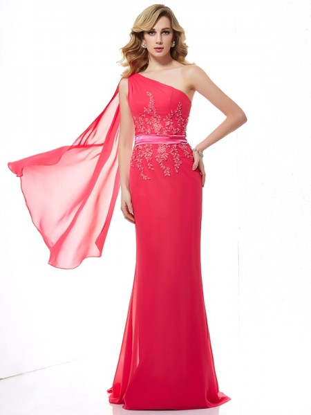 Column Applique One Shoulder Beading Chiffon Sweep Brush Train Evening Wear