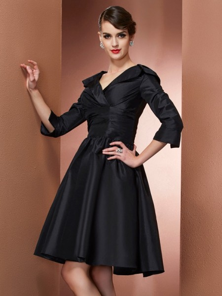 A Line Princess V-Neck Sleeves Mini Taffeta Gown