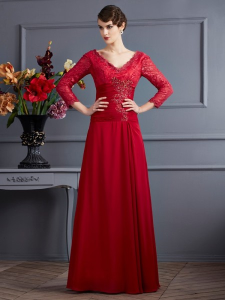 A Line Chiffon Sleeves Floor Length V-Neck Dress