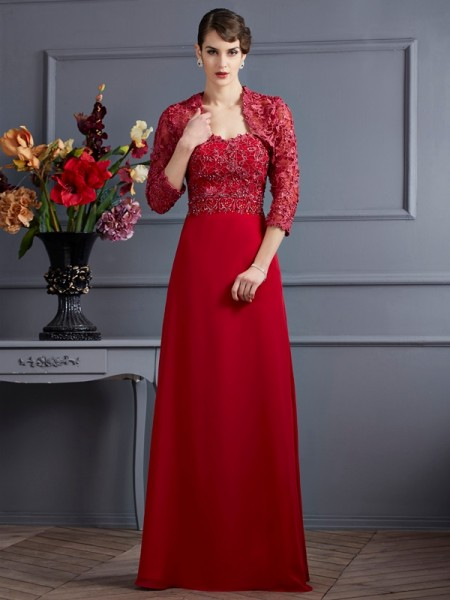 A Line Princess Sweetheart Floor Length Applique Chiffon mother of the groom Dress