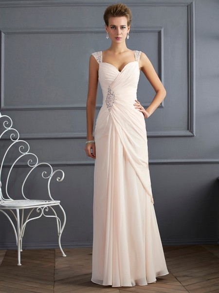 Column Straps Beading Floor Length Chiffon Prom Dress