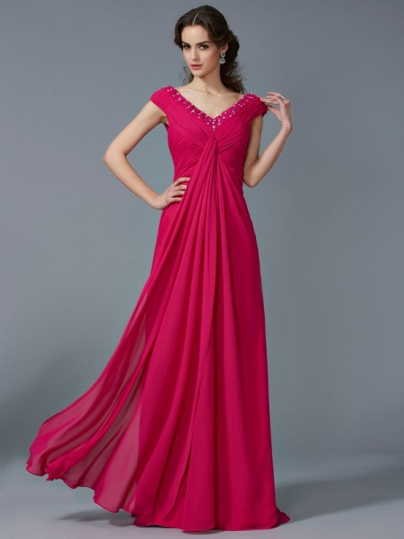 A Line Princess V-Neck Short Sleeves Beading Floor Length Chiffon Prom Dress