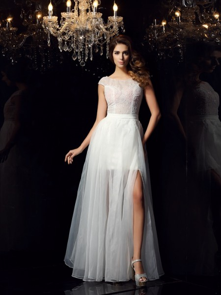 A-Line Short Sleeves Scoop Tulle Beading Floor-Length Party Dresses
