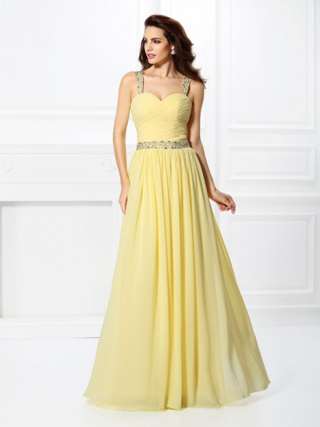 A-Line Beading Sweetheart Floor-Length Chiffon Prom Dress
