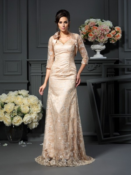 A-Line V-neck Lace Floor-Length Elastic Woven Satin Mother of the Bride Dress