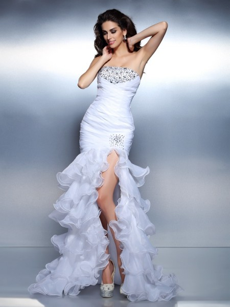 Mermaid Strapless Beading Ruched Floor-Length Organza Women Gown
