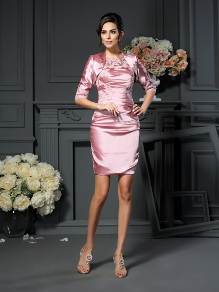 Sheath Scoop Applique Short Elastic Woven Satin Mother of the Bride Dress