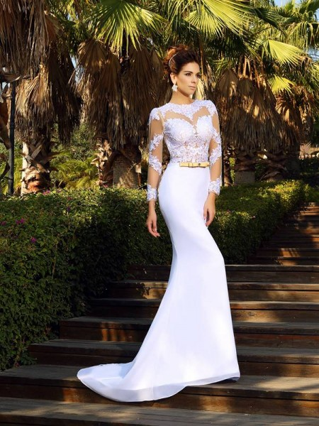 Sheath/Column Scoop Applique Long Sleeves Satin Wedding Dress
