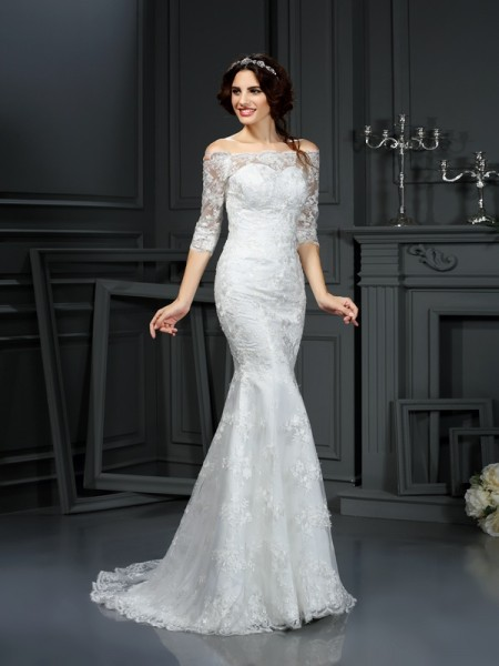 Sheath Off the Shoulder 1/2 Sleeves Sweep/Brush Train Lace Bridal Dresses