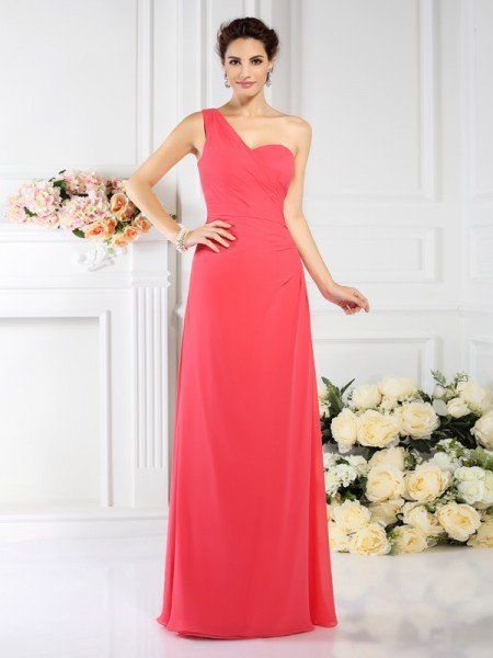 A-Line One-Shoulder Pleats Floor-Length Chiffon Bridesmaid Gown