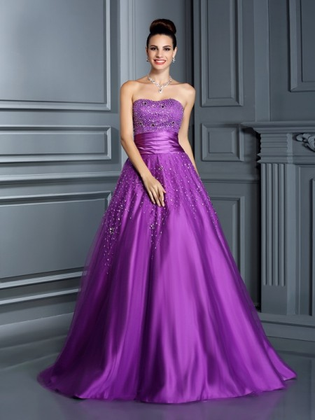 Ball Gown Beading Sweetheart Floor-Length Satin Quinceanera Dresses