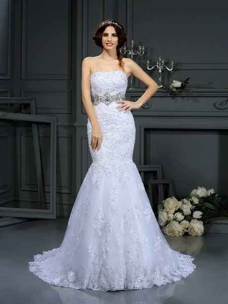 Mermaid Strapless Beading Lace Court Train Dresses For Brides