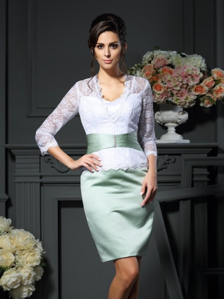 Sheath V-neck 1/2 Sleeves Short Lace Satin Mother of the Bride Dress