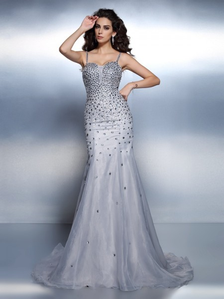 Mermaid Spaghetti Straps Rhinestone Sweep/Brush Train Organza Women Gown