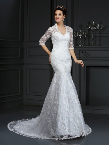 Mermaid V-neck 1/2 Sleeves Lace Court Train Lace Bridal Dresses