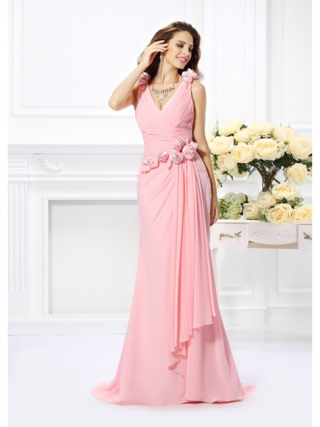 Mermaid Chiffon V-neck Hand-Made Flower Sweep/Brush Train Dress