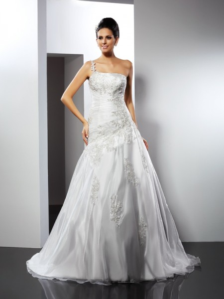 A-Line One-Shoulder Applique Chapel Train Satin Wedding Gown