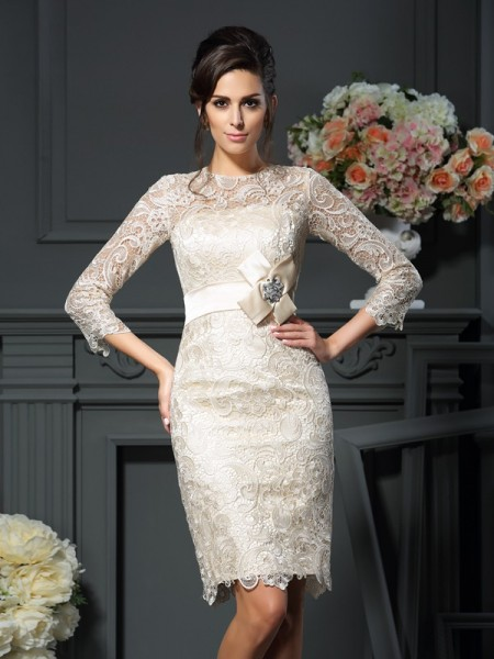Sheath Scoop Bowknot 3/4 Sleeves Short Lace Mother of the Bride Dress