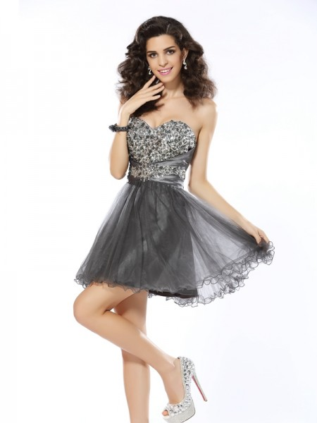 A-Line Sweetheart Ruffles Short Net Dresses