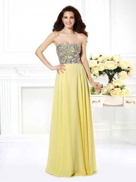A-Line Strapless Beading Rhinestone Floor-Length Chiffon Prom Dress