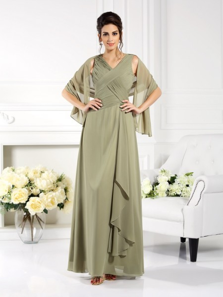 A-Line V-neck Pleats Floor-Length Chiffon Mother of the Bride Dress