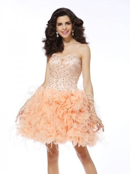 A-Line Organza Sweetheart Short Beading Party Dress