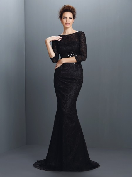 Mermaid Bateau 3/4 Sleeves Lace Sweep/Brush Train Elastic Woven Satin Evening Dresses