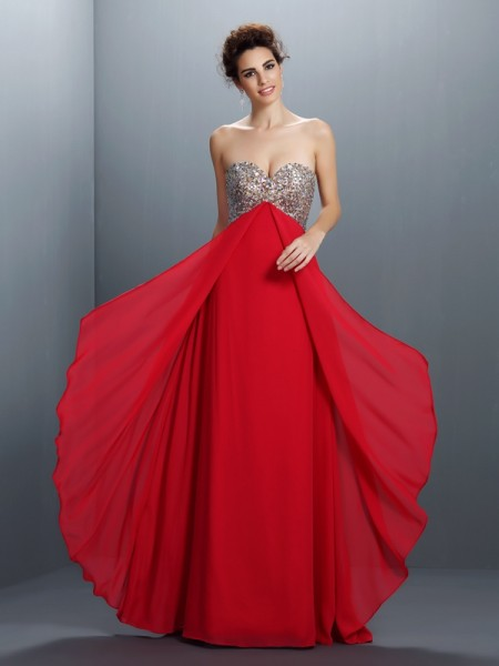 A-Line Beading Sweetheart Paillette Floor-Length Chiffon Fashion Dress
