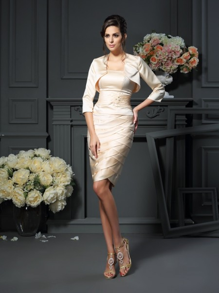Sheath Strapless Pleats Knee-Length Satin Mother of the Bride Dress