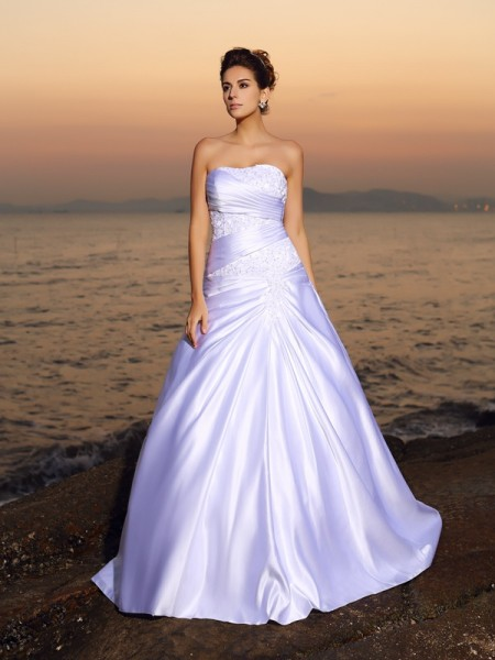 Ball Gown Strapless Satin Applique Beading Court Train Bridal Dress