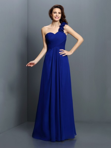 A-Line One-Shoulder Hand-Made Flower Floor-Length Chiffon Bridesmaid Gown