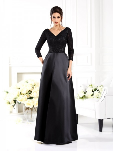 A-Line V-neck 3/4 Sleeves Beading Floor-Length Satin Mother of the Bride Dress