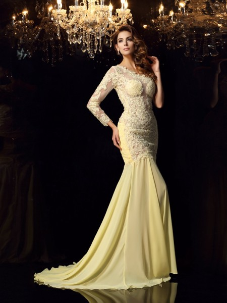 Mermaid Long Sleeves One-Shoulder Chiffon Applique Chapel Train Dresses