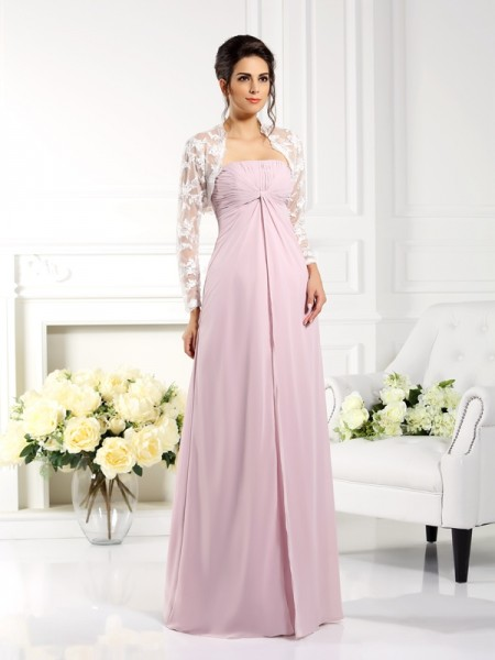 A-Line Strapless Lace Floor-Length Chiffon Mother of the Bride Dress
