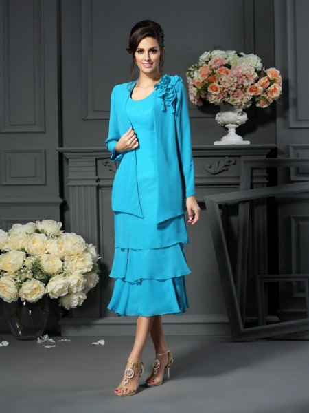 A-Line Scoop Tea-Length Chiffon Mother of the Bride Dress