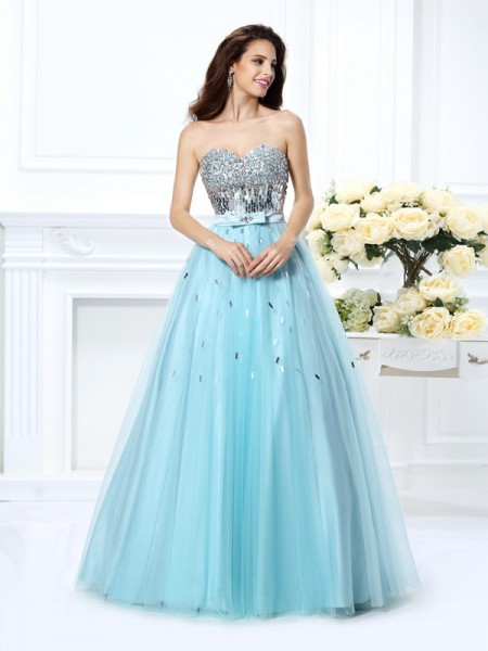 Ball Gown Beading Sweetheart Paillette Floor-Length Satin Evening Wear