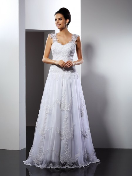 A-Line Straps Applique Court Train Lace Wedding Gown