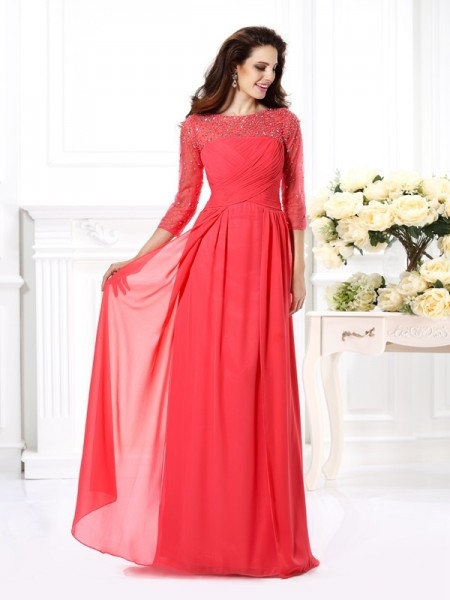 A-Line Scoop 3/4 Sleeves Beading Floor-Length Chiffon Prom Dress