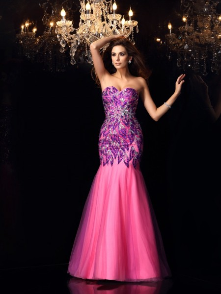 Mermaid Beading Sweetheart Floor-Length Net Dresses
