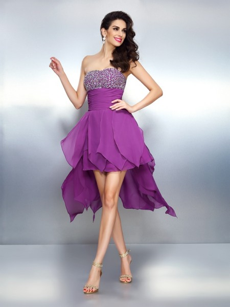 A-Line Strapless Beading Asymmetrical Chiffon Prom Dress