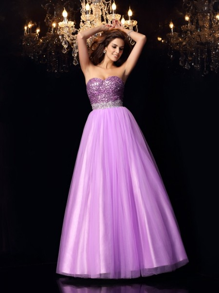 Ball Gown Sweetheart Sequin Elastic Woven Satin Floor-Length Party Dresses