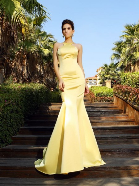 Mermaid Scoop Satin Court Train Beautiful Dress