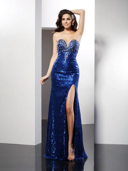 Sheath Sweetheart Sequin Floor-Length Sequins Dresses