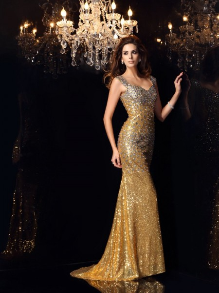 Mermaid Straps Sequins Floor-Length Rhinestone Dresses