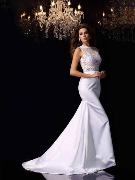 Mermaid High Neck Satin Applique Chapel Train Bridal Dress